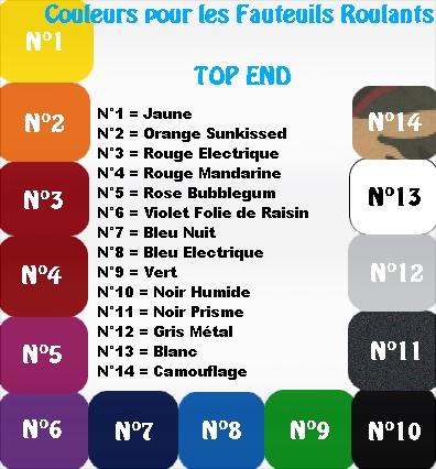Palette de couleur pour fauteuils roulants TOP END