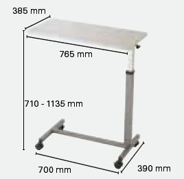 Dimensions de la table de lit Invacare Kauma