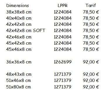 Code de remboursement Escarres Coussins Visco P361C Standard