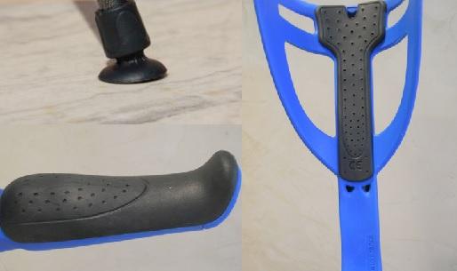 Detail canne anglaise ergo opti confort bleue