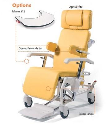 Options du fauteuil de geriatrie ALESIA