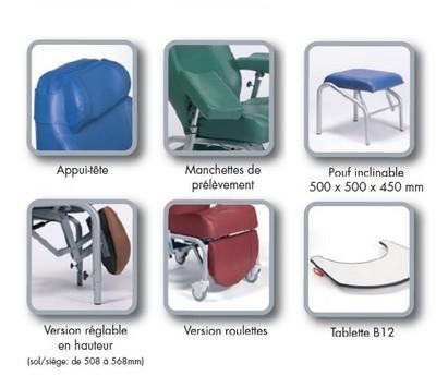 Options du fauteuil de repos NORMANDIE