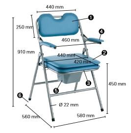 Dimensions chaise Omega pliante H407 INVACARE