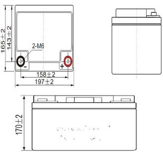 Dimensions Batterie Gel 12 V 45 A