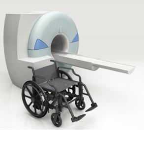 Fauteuil roulant imagerie medical sans metal