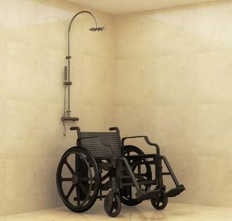 Fauteuil roulant de douche sans metal