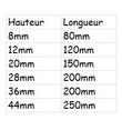 Dimensions de la le rampe de seuil en caoutchouc en fonction de