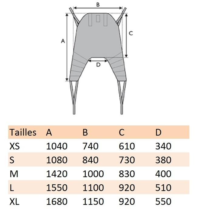 Correspondance dimensions et tailles Dimensions Sangle Universel