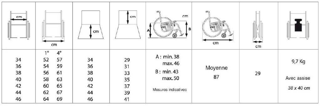 tableau de dimensions icare alhena - Dimension Fauteuil