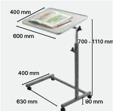 Dimensions de la table Invacare BAYA