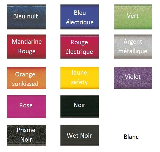 Palette de couleur du chassis TOP END PRO TENNIS
