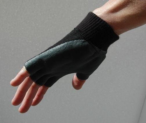 Tranche de la main de protection vue envers