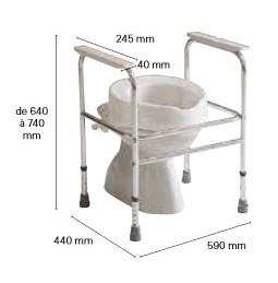 Dimensions du cadre de toilette aluminium ADEO INVACARE