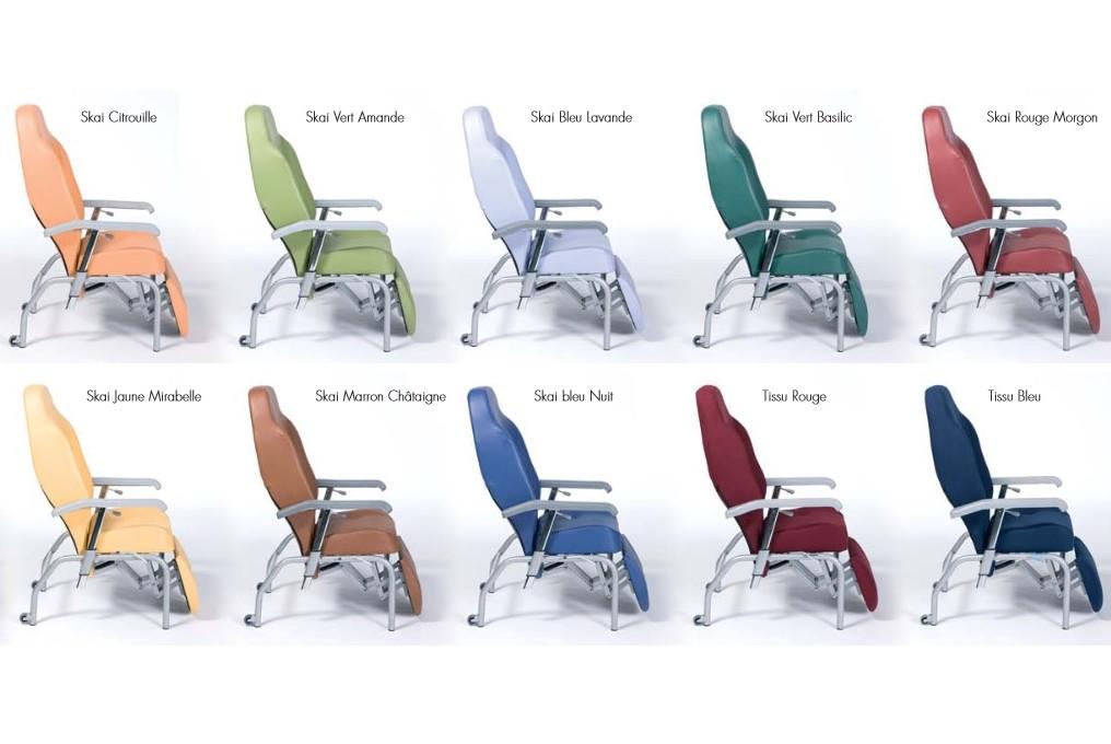 Gamme de couleur et matiere du fauteuil de repose Normandie