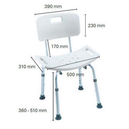 Dimensions chaise de douche Invacare H296 CADIZ